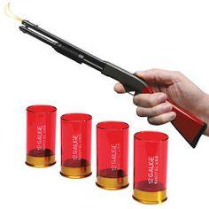 2nd Amendment Shotgun Shell Shot Glasses & Shotgun Grill Lighter