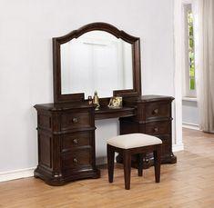 Wood Makeup Vanity, Vanity Desk, Vanity Set With Mirror, Avalon Furniture, Luxury Furniture, Bedroom Vanity Set, Mirror Bedroom, Solid Oak Desk, Slytherin