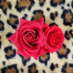 Double Red Rose Handmade Hair Flower Clip Pinup Retro Rockabilly #Handmade #Clips