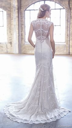 Madison James Bridal Fall 2015 Wedding Dresses | Wedding Inspirasi | Elegant, Sleeveless Lace Column/Sheath Wedding Gown With A Scalloped Plunging V Neckline, Pearl Buttons Down The Back, Court Length Train