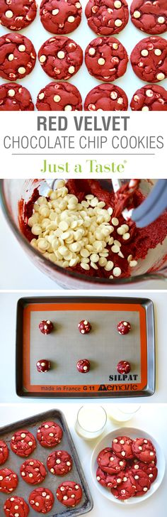 Red Velvet Chocolate Chip Cake Mix Cookies recipe via justataste.com