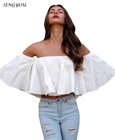 >> Click to Buy << singyou Fashion Sexy Vrouwen blouses solid off shoulder slash   vrouwen zomer Horn sleeve tops  #Affiliate