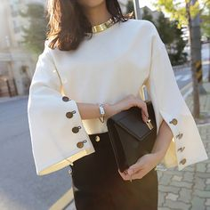 Cheap fashion women sweater, Buy Quality woman fashion sweater directly from China women sweater Suppliers: [CHICEVER] 2017 Spring Flare Sleeve Split O-neck Lady Female Tops Women Sweater Clothes New Fashion Korean New Bold Fashion, New Fashion, Trendy Fashion, Korean Fashion, Womens Fashion, Fashion Design, Fashion Trends, Fashion Spring, Ladies Fashion