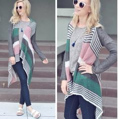 Striped Draped Open Front Cardigan❗️Last❗️ Blush green and gray striped Cardi.  Super soft material open weave material.  100% acrylic.  Length wolf sides about 26 inches, longest part about 44 inches.  Lowest prices are listed upfront. Sweaters Cardigans