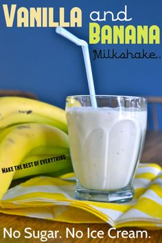 "Frozen Bananas, Milk and Vanilla. NO Sugar, NO Ice Cream! I love this healthy Ingredient Banana Milkshake. Frozen Bananas, Milk and Vanilla. NO Sugar, NO Ice Cream! I love this healthy ""makeover""! Smoothie Drinks, Healthy Smoothies, Healthy Drinks, Smoothie Recipes, Nutrition Drinks, Milkshake Recipes, Banana Recipes, Healthy Treats, Healthy Recipes"