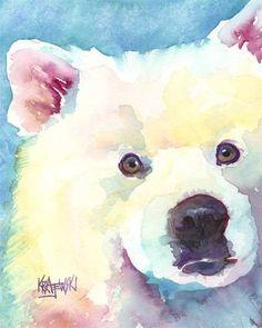 Samoyed Art Print of Original Watercolor Painting by dogartstudio