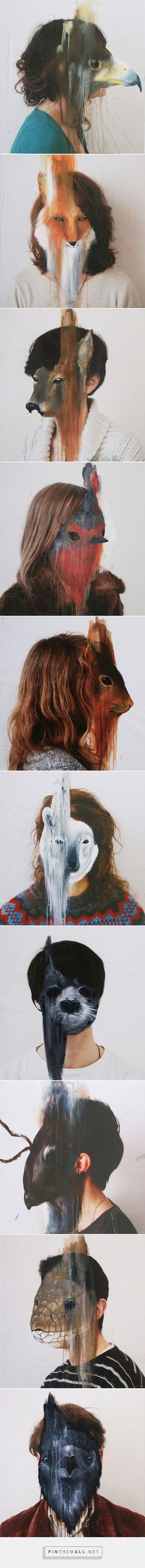 Photographed Portraits And Painted Animal Masks By Charlotte Caron