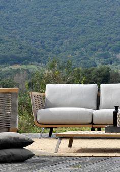 Right corner module Welcome in teak and cord cm 92 - Unopiù Teak Outdoor Furniture, Outdoor Sofa, Garden Furniture, Outdoor Decor, Garden Sofa, Bedding Collections, Contemporary Design, Interior Design, Armchairs