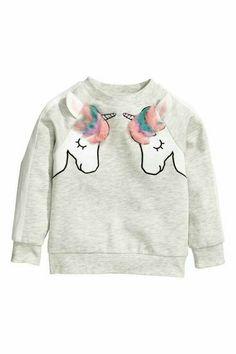 64e8121e9c Sweatshirt with a motif - Light grey marl Unicorns - Kids