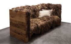 Crafted with Icelandic sheepskin wool and reclaimed American oak boards, the Long Wool Sofa from Brooklyn based studio,SENTIENT,combines the hard and the soft in harmony.
