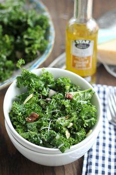 Kale Salad with Dates, Almonds and Garlic-Shallot Vinaigrette #STARFineFoods