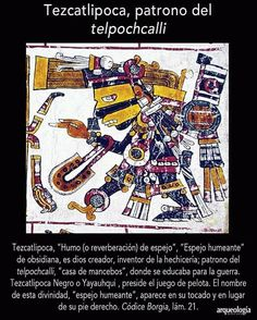 Para entender a Tezcatlipoca. 🔥 Créditos de la imagen para @arqueologiamexicana  Sígueme en Instagram @yaocelotlest  #Mexico #cultura… Giveaway, Comic Books, America, Culture, Instagram, Deities, Aztec Symbols, Mayan Tattoos, Aztec Culture