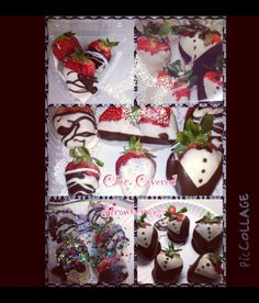 chocolate covered strawberries !! as bride and groom !! also in color sugars too !
