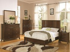 Make your bedroom a peaceful retreat with the Coaster 202451 Low Profile Panel Bedroom Set. This transitionally styled set offers a bed with a low profile footboard and elegantly simple panel headboard. The case pieces in this collection include an eight drawer dresser, either a rectangular or a shell shaped mirror, a five drawer chest and a three drawer night stand. All drawers have metal Euro glides and the dresser and chest have luxurious felt-lining in the top drawers to protect delicate…