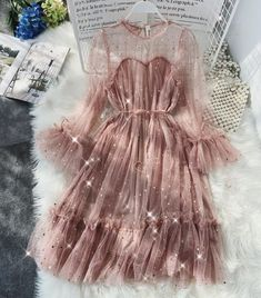 HISUMA spring Summer new female O-neck flare sleeve stars sequined mesh shiny fairy dress women elegant bling pleated dresses Cheap Dresses, Elegant Dresses, Pretty Dresses, Dresses For Sale, Beautiful Dresses, Short Dresses, Pleated Dresses, Dresses Dresses, Backless Dresses