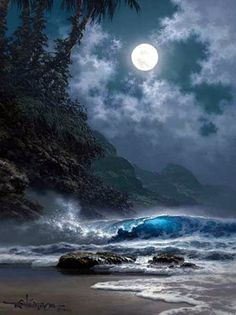 Once Upon a Midnight Roy Tabora Ocean Art, Ocean Waves, Seascape Paintings, Landscape Paintings, Beach Photography, Nature Photography, Beautiful Moon, Beach Art, Sunset Beach
