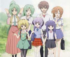 (ひぐらしのなく頃に) Higurashi no Nako Koro ni/ When They Cry. Don't let this smiling group of kids fool you; This is a mystery, psychological horror story with supernatural elements. A little blood-bath anyone?