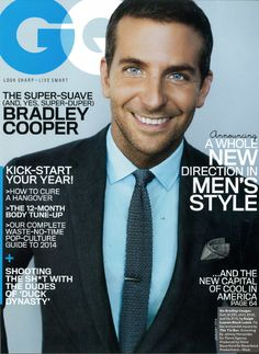 """Hot off his praiseworthy performance in """"American Hustle,"""" Bradley Cooper puts on his best dapper attire for a too cool fashion spread for the January issue of GQ Magazine. Inside the issue, Cooper opens up Bradley Cooper, Gq Mens Style, Gq Style, Gq Magazine Covers, Kyle Kuzma, Ralph Lauren, American Hustle, American Art, American History"""