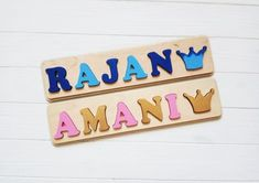 Wooden Name Puzzle is a wonderful Personalized Gift for baby girl and baby boy.Wooden Name Sign is a wood gift for Birthday Gift, Baby Shower, Christmas Gift, Easter, Baptism Gift, nursery decor . Custom Name Puzzle is a montessori toys, educational toys, wood toys, develops a child: fine motor skills, coordination of movement, attention and assiduity, logical thinking and memory.♥♥ DIMENSIONS PUZZLE. ♥ The height of the board is 4.0 inches (10 cm); The thickness of the board is 0.4 Baby Boys, Baby Girl Toys, Baby Girl Gifts, Toys For Girls, Jigsaw Puzzles For Kids, Puzzles For Toddlers, Wooden Puzzles, Wooden Letters, Babies First Christmas