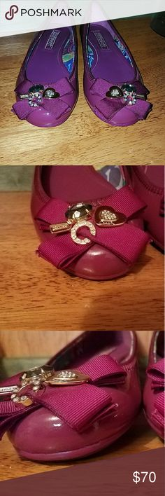 Coach Poppy Caper flats Gorgeous size 9m Coach flats perfect for summer. Beautiful charm detail on the toes. No scuffs, missing gems or stones♡♡♡ Coach Shoes Flats & Loafers