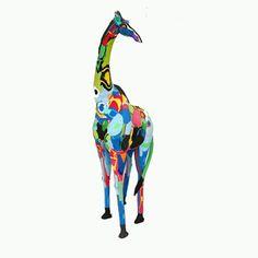 Giraffe sculpture made from recycled flip flops in africa