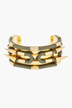FALLON Olive Leather-Detailed Spike Cuff