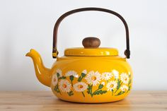 Bright Yellow Retro Teapot with White Daisies - Shabby Chic Planter or Home Decor