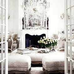 All white. #fireplace #mirror #interior