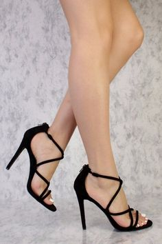 Strappy heels never go wrong! Go out looking sexy with these sexy and stylish strappy high heels a must have this season! - Strappy Toe - Front Strappy Criss Cross cut out - Back Zipper Closure - Cush