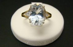 Solid 14k Yellow Gold 4 5 Ct Oval Aquamarine Diamond Accent Ring Size 6 5 Blue | eBay