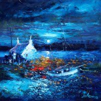 Beached Boat in the Moonlight South Uist - John Lowrie Morrison OBE - Jolomo - Hebridean Moons Moon Beach, Paintings I Love, Moon Art, Winter Landscape, Art Houses, Beautiful Images, Les Oeuvres, Moonlight, Art Projects
