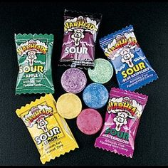 warheads...only the greatest sour candies out there! :P  we used to have contests to see who could keep a straight face the longest. lol