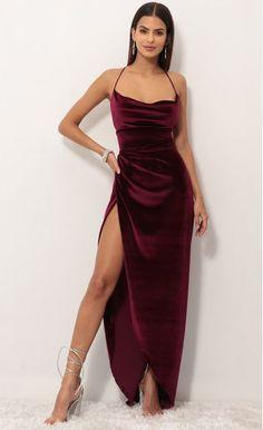 Party dresses > Velvet Luxe Maxi Dress in Wine Stunning Prom Dresses, Pretty Prom Dresses, Grad Dresses, Ball Dresses, Satin Dresses, Elegant Dresses, Cute Dresses, Beautiful Dresses, Evening Dresses
