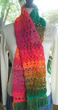 Preppy Stripes Scarf - free crochet pattern by Cheryl Frye.
