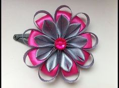 Decoration on a hairpin Kanzashi / Gray-pink flower / Flower of narrow ribbons Diy Lace Ribbon Flowers, Kanzashi Flowers, Ribbon Art, Ribbon Hair Bows, Diy Ribbon, Ribbon Crafts, Satin Flowers, Flower Crafts, Fabric Flowers