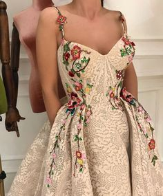 gorgeous gowns Details - Desert Embel Color - Tulle fabric - Handmade embroidered flowers - Ball-gown style - Party and Evening dress Elegant Dresses, Pretty Dresses, Formal Dresses, Long Dresses, Prom Dresses Flowers, Ball Gowns Prom, Ball Dresses, Dance Dresses, Cheap Gowns