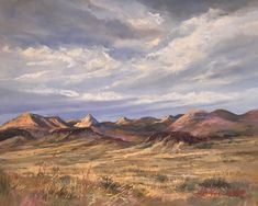Vastness in the high desert: clouds, desert mountain ranchland, golden grass in this pastel landscape painting of marfa by Texas artist Lindy Cook Severns Pastel Landscape, Landscape Paintings, Pastel Clouds, Southwest Art, Nature Center, Le Far West, Land Art, Online Art, New Art