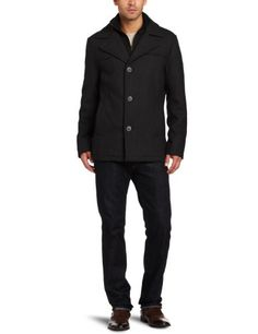 Kenneth Cole Men s Melton Single Breasted Pea Coat a74ca15ffeee
