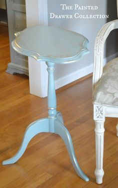 Gold gilding wax Painted Table in General Finishes milk paint Persian Blue Furniture, Repurposed Furniture, Annie Sloan Furniture, Painted Table, Furniture Rehab, Painted Furniture, Redo Furniture, Painted Drawers, Refinishing Furniture