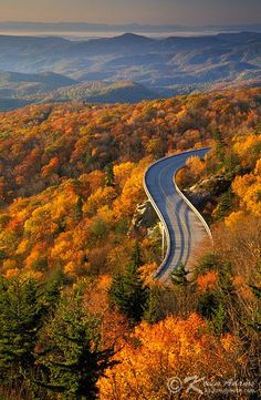 Autumn view of Linn Cove Viaduct on the Blue Ridge Parkway, North Carolina. The viaduct skirts the eastern flank of Grandfather Mountain and passes over the Tanawha Trail, a popular hiking path that is part of the Mountains To Sea Trail. Blue Ridge Parkway, Blue Ridge Mountains, Nc Mountains, Oh The Places You'll Go, Places To Travel, Places To Visit, All Nature, Out Of This World, Wonders Of The World