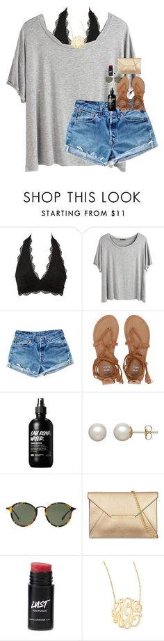 """""""got the blue sky breeze blowing wind through my hair"""" by classynsouthern ❤ liked on Polyvore featuring Charlotte Russe, Chicnova Fashion, Levi's, Billabong, Honora, Ray-Ban and Jennifer Zeuner"""