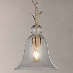 BuyJohn Lewis Clovelly Small Glass Bell Pendant Ceiling Light, Clear/Grey Online at johnlewis.com