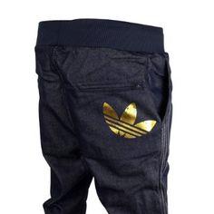 Mens Adidas Originals Cuffed Denim Blue Jeans Tracksuit Bottoms Pants Joggers L