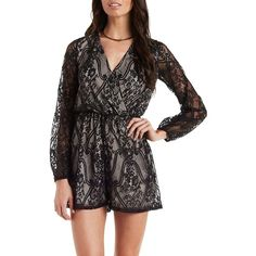 Charlotte Russe Black Combo Long Sleeve Lace Wrap Romper by Charlotte... (€27) ❤ liked on Polyvore featuring jumpsuits, rompers, black combo, sheer jumpsuit, long sleeve romper, lace romper, black long sleeve jumpsuit and romper jumpsuit