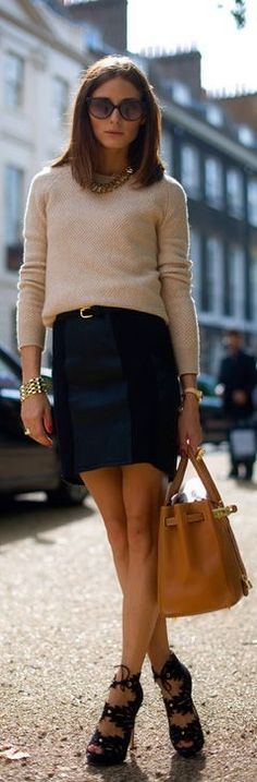 Knitted top and a cute skirt. Strappy high heels and a awesome bag. Just another…:
