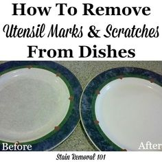 How to use Bar Keeper's Friend to remove utensil marks and scratches on dishes and stoneware {on Stain Removal Diy Home Cleaning, Deep Cleaning Tips, Toilet Cleaning, House Cleaning Tips, Spring Cleaning, Cleaning Hacks, Cleaning Lists, Kitchen Cleaning, Cleaning Products