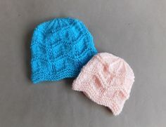Thank you so much for all your lovely comments about my sweet little Gentle Breeze Baby Blanket.  Here is the matching hat - 2 size...