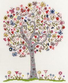 A colourful cartoon tree with flowers, butterflies and love among the leaves.