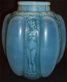 R. Lalique Cased Opalescent Six Figurines Et Masques Vase with Blue Patina, c.1912,