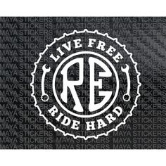 This unique custom made design for Royal enfield bike features a chain sprocket design within which the text live free ride hard is embedded. The text is separated with a wrench on both sides, At the center is an RE emblem balancing the whole design, This Bullet Stickers, Bike Stickers, Custom Stickers, Royal Enfield Logo, Royal Enfield Classic 350cc, Royal Enfield Stickers, Himalayan Royal Enfield, Enfield Thunderbird, Royal Enfield Wallpapers